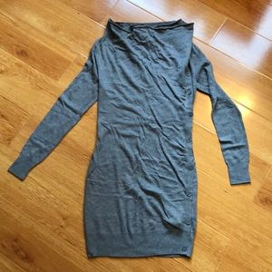 Intimissi gray tunic sweater cowl neck w/ buttons